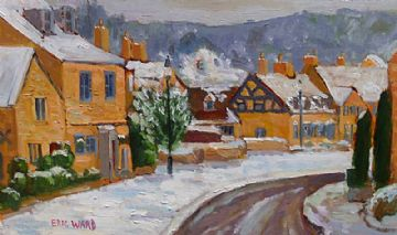 Eric Ward Original Oil Painting Snow At Broadway Worcestershire Cotswolds